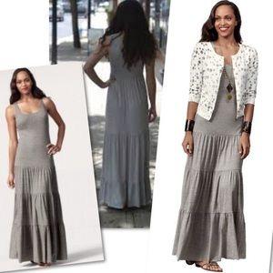 CAbi Grey Maxi Dress w Tiered Skirt #853